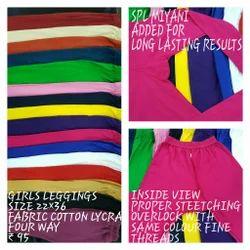 Kids Girls Cotton Lycra 4 Way Leggings