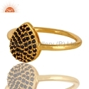 Natural Blue Sapphire Beaded Gold Plated Silver Ring Jewelry Manufacture