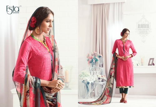 Semi-Stitched Georgette Embroidered Ladies Suits