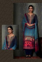 Multi Navy Blue, Embroidery Work, Semi Plazzo Suit