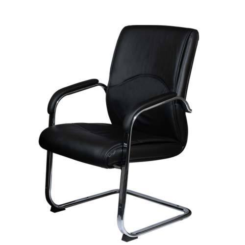 genuine leather black office visitor chair rs 2500 piece id rh indiamart com Office Guest Chairs Executive Office Chairs