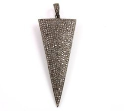 Cubic Zirconia Pave Set Sterling Silver Triangle Pendant