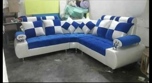 Solid Wood L Shape Sofa Set