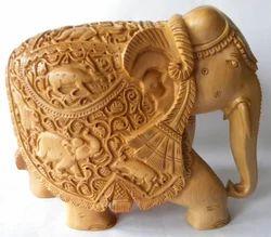 Natural Carved Wooden Elephant