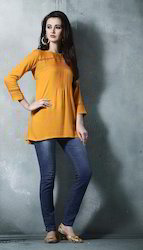 Yellow Party Wear Tunic Top