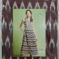 Cotton Fabric Brown Ikat Dress Materials