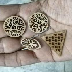 Wooden Button Laser Cut Art