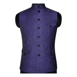 Purple Tweed Plain Nehru Jacket, Packaging Type: Plastic Bag
