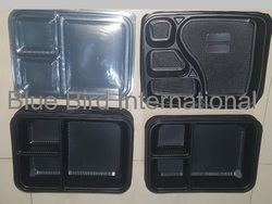 Black 3 and 4 Compartment Meal Tray With Lid