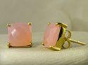 Pink Chalcedony Prong Set Earring Stud
