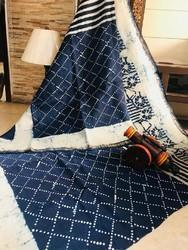 Silk Indigo Saree, Machine Made