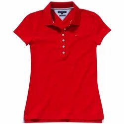 Ladies Red Collar T-Shirt