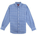 Casual 100% Cotton Mens Blue Check Shirt