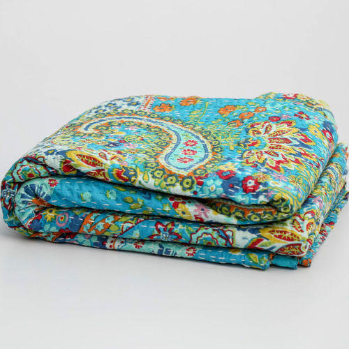 Turquoise Indian Green Paisley Kantha Bed Sheets