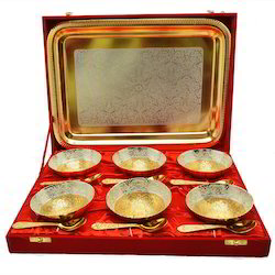 Gold Plated Six Bowl and Spoon Set