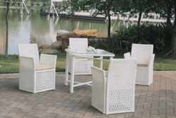 Square Style Outdoor Wicker Coffee Set