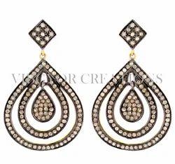 Party Wear Pear Pave Diamond Earrings