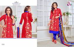 Party Wear Chanderi Embroidery Suits (Set of 4)