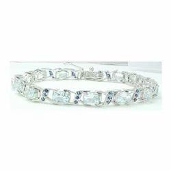 Aquamarine Gemstone Sterling Silver Bracelet