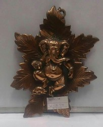 Ganesha On Leaf Black Metal Wall Hanging