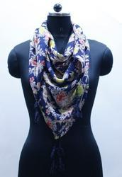 Floral Cotton Printed Scarf with Contrast Tassels