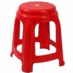 Round Red Plastic Stool