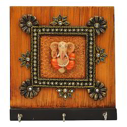 Wooden Ganesha Key Holder with Kundan Work