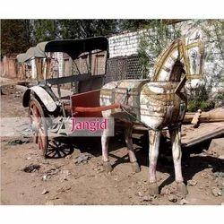 Jangid Art & Crafts Indian Antique Wooden Painted Horse Cart for Exterior Decor