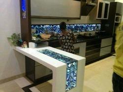 Acrylic Solid Surface Backlit Kitchen Breakfast Table