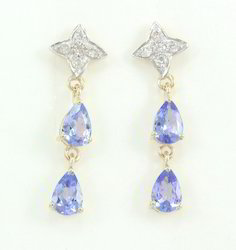 14k Tanzanite Drop Dangle Diamond Yellow Gold Earrings