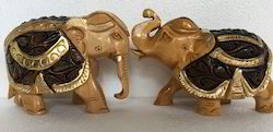 Brown And Black Wooden Elephant Statue