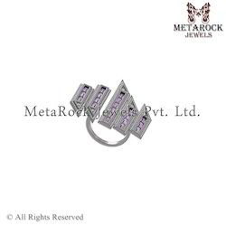 Pave Diamond Amethyst Gemstone Baguettes Ring