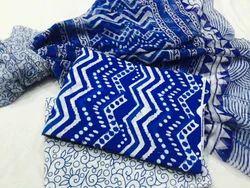 Printed Bagru Hast Kala Printers Cotton Dress Material Chiffon Dupatta, Gsm: 50-100