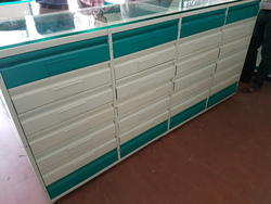 Mild Steel And Wooden Pharmacy Counter with Drawers, Size: 20 Inch, For Shop