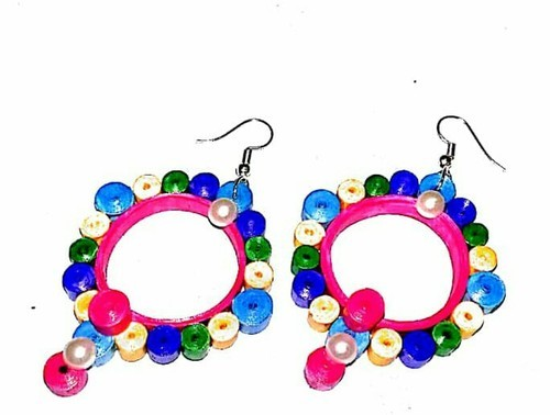fe8f7394a Paper Stone Beeds Girls Paper Quilling Earrings, Rs 150 /unit | ID ...