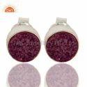 925 Sterling Silver Round Purple Druzy Gemstone Stud Earrings