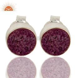 925 Sterling Silver Round Purple Druzy Gemstone Stud Earrings