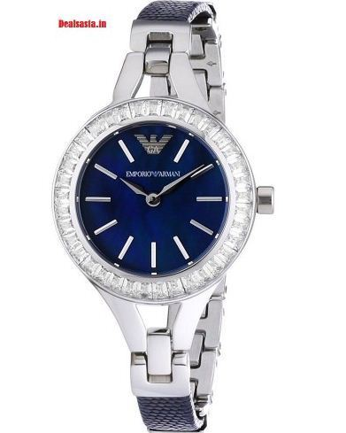 a3801e237 Blue Dial Studded Leather And Steel Strap Womens Watch at Rs 5190 ...