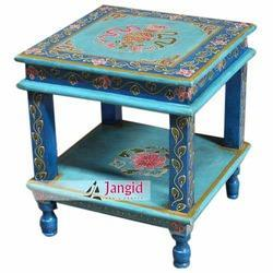 Center Table Colourful Wooden Painted Furniture, Size: 40x40x45 CMS