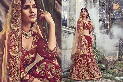 bf8892e047 Maroon Heavy Embroidered Lehenga Choli at Rs 6635 /piece(s) | Bridal ...