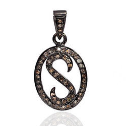 S Pendant Pave-Diamond 925 Silver Charms