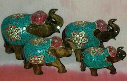 Wooden Elephant Statue Set