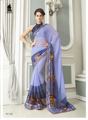 Georgette Purple Printed Designer Saree