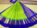 Casual Wear Green And Blue Silk Cotton Saree