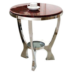 Gaur Steels Round Glass Stool, for Home, Size: 18 Inch Diameter