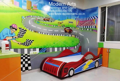 Kids Bedroom Cartoon Wall Painting Ideas