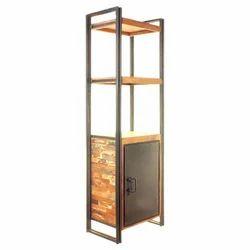 K D Craft Exports Industrial Iron Reclaimed Wooden Bookshelf
