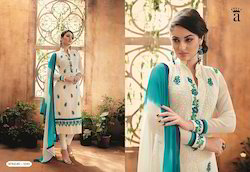 Whit Sea Green Embroidered Fancy Salwar Suit