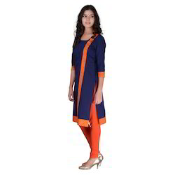 Nevy Blue Stylish Long Kurta In 3/4 Sleeves  Machine Wash