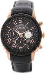 Black & Copper Round Titan Watch, For Daily